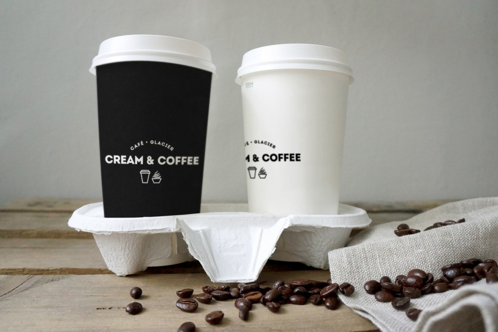 05_two coffee cups and beans mockup